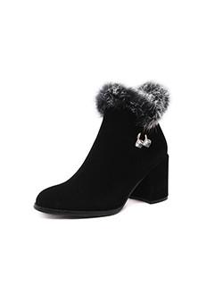 Fluffy Chunky Winter Ladies Black Booties