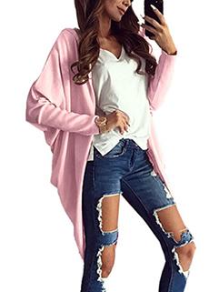 Oversize Solid Bat Sleeve Loose Cardigan Coat