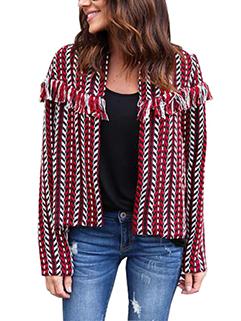 Fashion Tassel Jacquard Cardigan Loose Short Coat