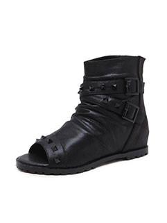 Wrinkle Open Toe Heighten Ankle Boots