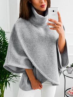 Stylish High Neck Solid Irregular Hem Hooded