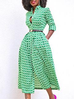 European Style Square Neck Split Pattern Dress