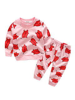 Cartoon Printing Long Sleeve Top With Pants(3-4 Days Delivery)