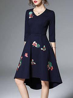 Dark Blue Floral 3/4 Sleeve Cocktail Dress