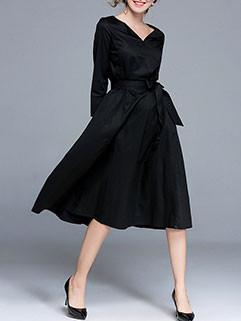 Notch Collar Self Tie Waist Evening Dress