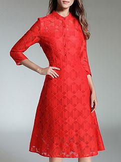 Fashion Lace Stand Collar A Line Dress