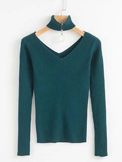 Solid V Neck Knitting Top With Choker (3-4 Days Delivery)