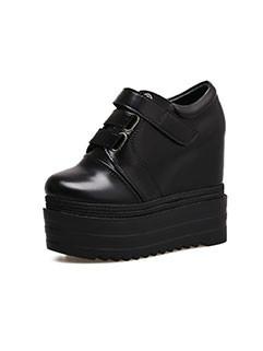Round Toe Velcro Heighten Wedge Black Booties