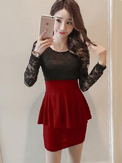 Korean Design Crew Neck Patchwork Lace Dress