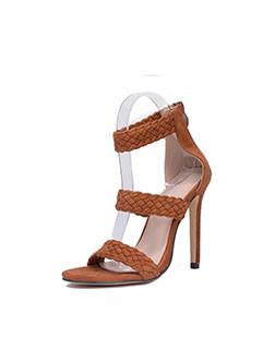 Rome Weave Stiletto Heel Open Toe Sandals