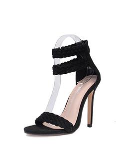 Solid Ankle Strap Stiletto Heel Sandals