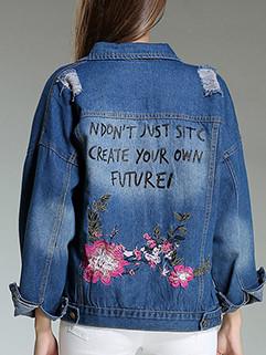 Stylish Lapel Lapel Worn Out Embroidery Denim Coat