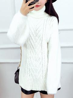 Detachable Scarf O Neck Long White Sweater