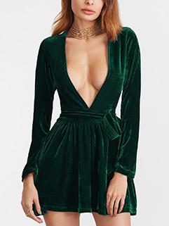 European Style Deep V Bandage Solid Dress