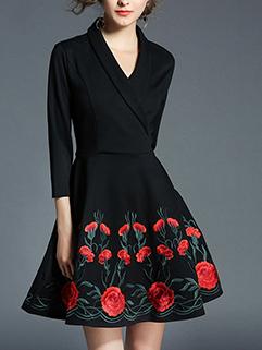 European Style Lapel Embroidery Dress