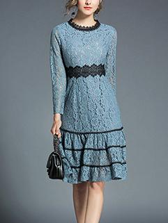 Elegant Crew Neck Patchwork Ruffles Lace Dress