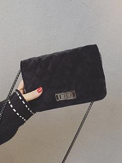 Chic Diamond Hasp Velvet Square Shape Shoulder Bag