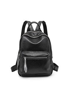 Black Double Zipper Litchi Pattern Backpack