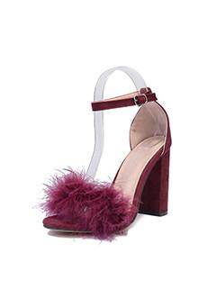 Easy Match Patchwork Fur High Heel Sandals