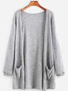 Autumn Pocket Design Solid Cardigan Knitting Coat