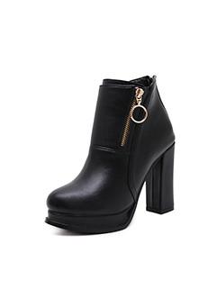 Zipper Decor Women Black Chunky Short Boots