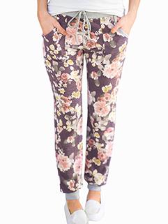 Hot Sale Women Drawstring Floral Long Pants