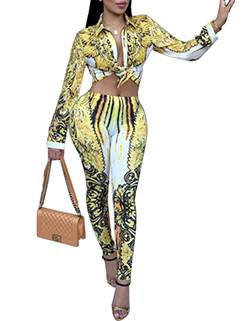 Stylish Lapel Printed Midriff Skinny Long Pant Suit