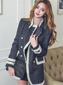 Korean Design Lapel Patchwork Double Breasted Woolen Blazer Coat