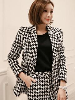 New Arrival Lapel Houndstooth Smart Waist Short Blazer Coat