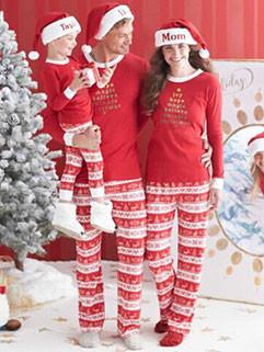 Red Printing Christmas Family Sets