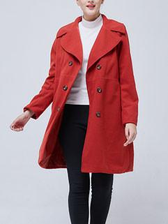 Euro Ladies Lapel Solid Wool Winter Coat