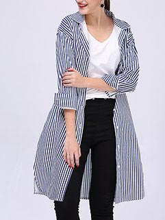 Euro Plus Size Women Striped Long Shirt