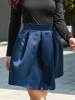 Fashion High Waist Solid Pleated Fluffy Skirt