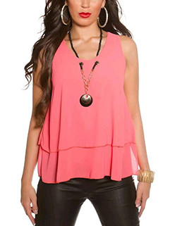 Tiered Hem O Neck Sleeveless T-shirt Woman