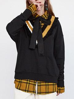 Fashion V Neck Stripe Patchwork Loose Sweater 3-4 Days Delivery