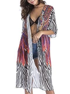 Stylish Half Sleeve Printing Long Cardigan Chiffon Coat