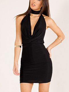 Sexy V-Neck Fitted Wrap Halter Backless Dress