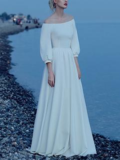 Hot Selling Boat Neck Lantern Half Sleeve Evening Dress