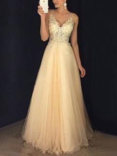 Euro V-Neck Sleeveless Sequined Chiffon Evening Dress