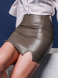 Sexy High Waist Solid Split Wrap Skirt