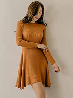 Stylish Crew Neck Solid Knitting A-Line Dress