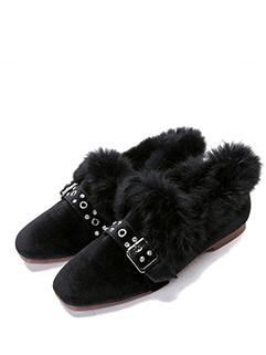 Faux Diamonds Square Toe Rabbit Fur Flats