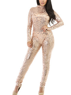 European Design Fitted Sequined Jumpsuit