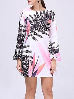 Stylish Long Sleeve Printing Dress For Ladies