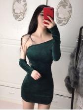 One Shoulder Sexy Velvet Bodycon Dress