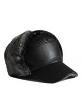 Fashion Fluffy Patchwork Pu Thick Baseball Hat