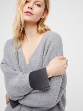 Oversize V Neck Color Match Loose Hooded
