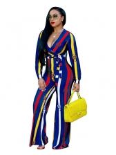 Hot Selling Stripe Deep V-Neck Long Sleeve Jumpsuit