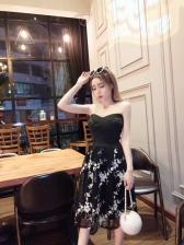 High Waist Embroidered Strapless Evening Dress