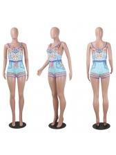 Fashion Crew Neck Bandage Pattern Romper